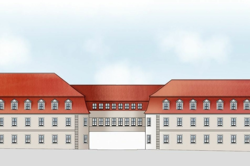 Die Fassade ist an die historische Bauweise in Herrnhut angepasst. Das verlangt auch der Bebauungsplan.