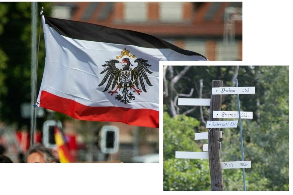 Dieser Wegweiser (unten rechts) ist auf einem Privatgrundstück in Hilbersdorf zu sehen, Flaggen wie diese beispielsweise in Königshain.