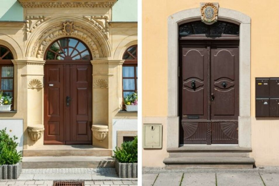 Die Tür und das wunderschöne Sandsteinportal mit den Sitznieschen am Neumarkt 11 (links) sind ein Highlight der Stadt. Am Kirchplatz 1 (rechts) in unmittelbarer Nachbarschaft zur Marienkirche steht ein Gebäude mit einer Jugendstiltür.
