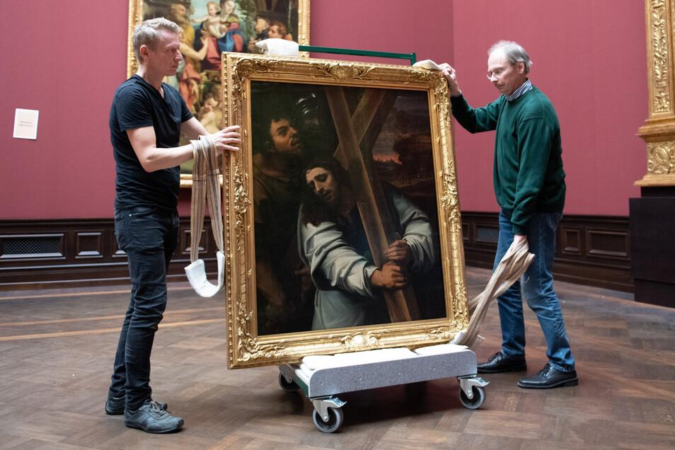 Die Gemäldegalerie Alte Meister und die Skulpturensammlung bis 1800 wird im frisch sanierten Semperbau wird derzeit neu eingerichtet.