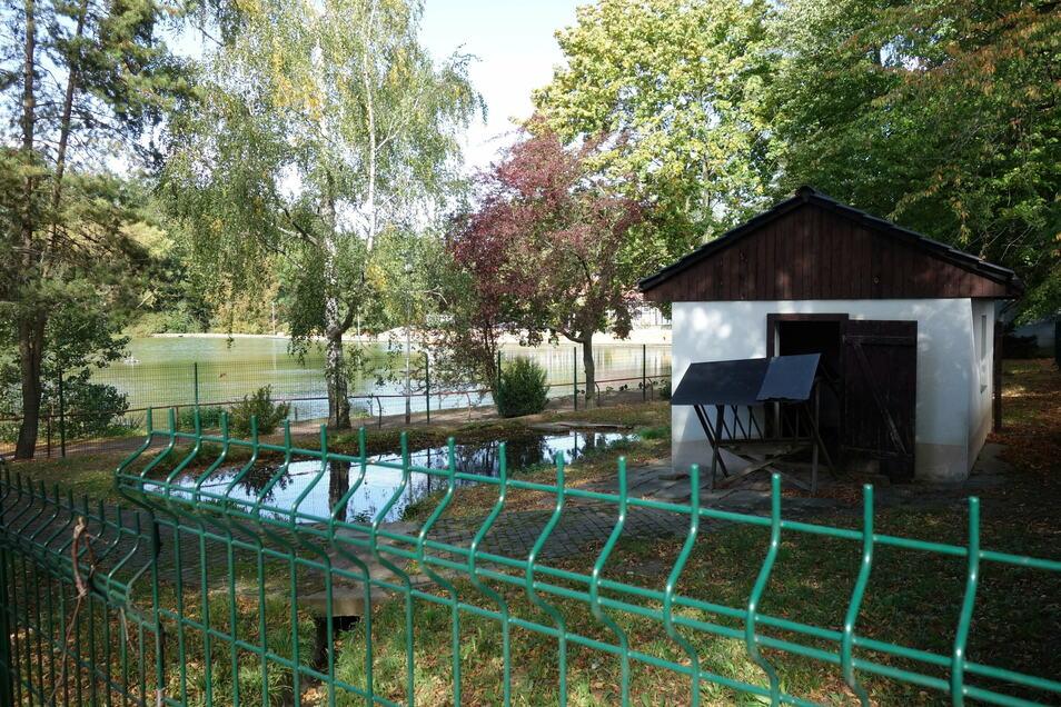 Das Stallgebäude und der Zaun des ehemaligen Ziegengeheges werden abgerissen.