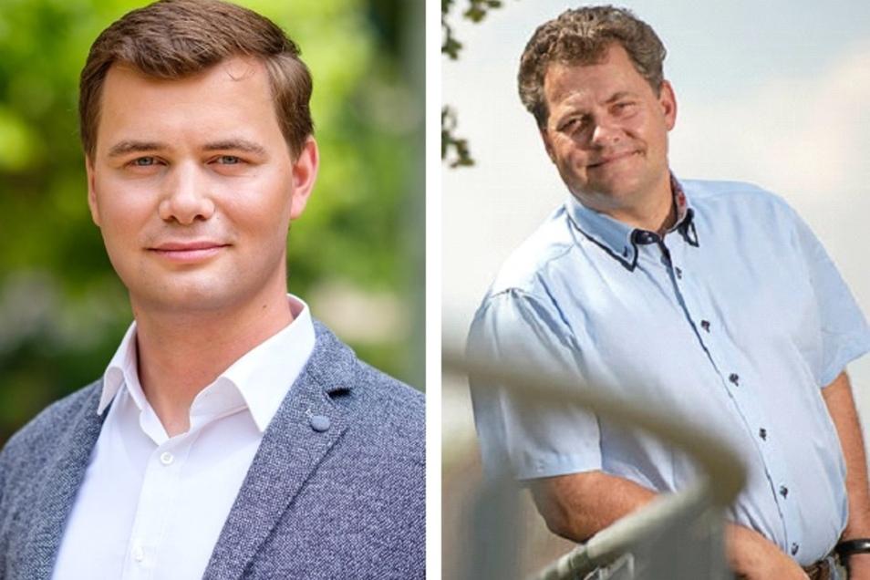 David Steinmann (l.) und Thomas Schubert wollen auf den Chefsessel des Coswiger Rathauses.
