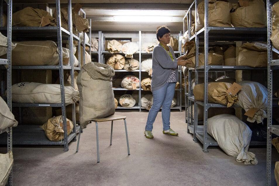 Stasi-Unterlagenbehörde in Frankfurt (Oder): In den Regalen lagern noch Säcke mit zerschnipselten Resten von Stasi-Unterlagen.