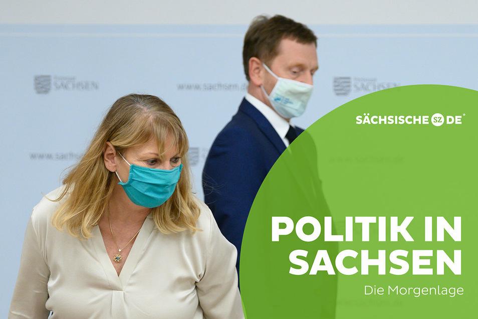 Michael Kretschmer, Ministerpräsident von Sachsen, und Gesundheitsministerin Petra Köpping, bei der Pressekonferenz am Dienstag