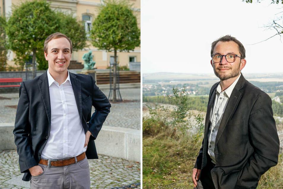 Wer wird neuer Bürgermeister von Demitz-Thumitz: Benjamin Lange von der Wählervereinigung Demitz-Pohla-Rothnaußlitz (l.) oder CDU-Kandidat Jens Glowienka? Die Entscheidung fällt am 25. Oktober.