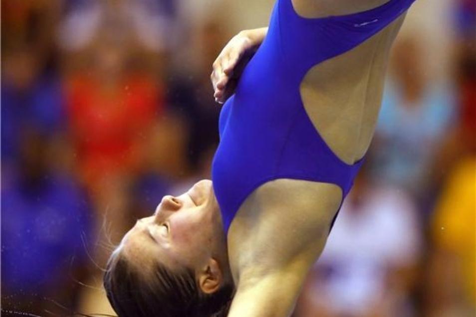 Erstaunliche Nervenstärke: Tina Punzel bei einem ihrer Finalsprünge.