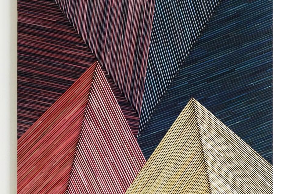 Olaf Holzapfel, ohne Titel, 2019, Stroh, Farbe auf Holz, 89 x 78 cm.