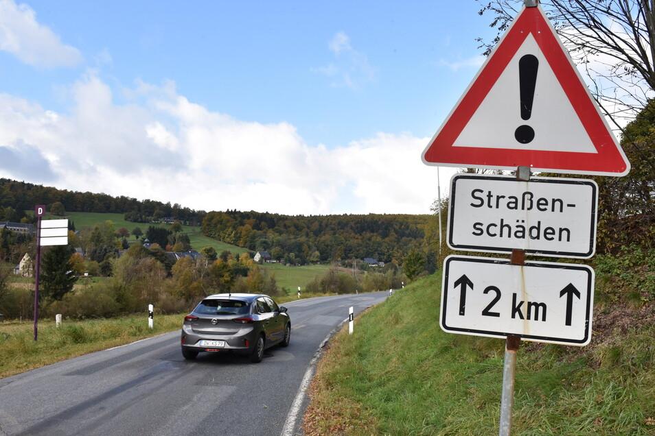 Die S182 in Rehefeld muss in Etappen erneuert werden.