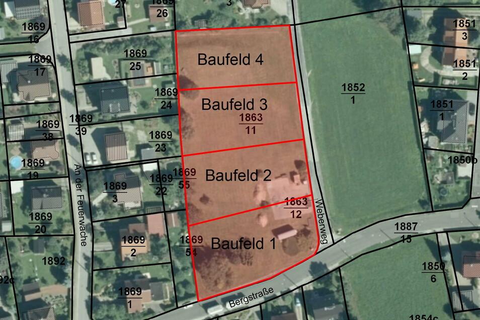 Diese vier Bauplätze am Weberweg hat die Gemeinde Neukirch verkauft.