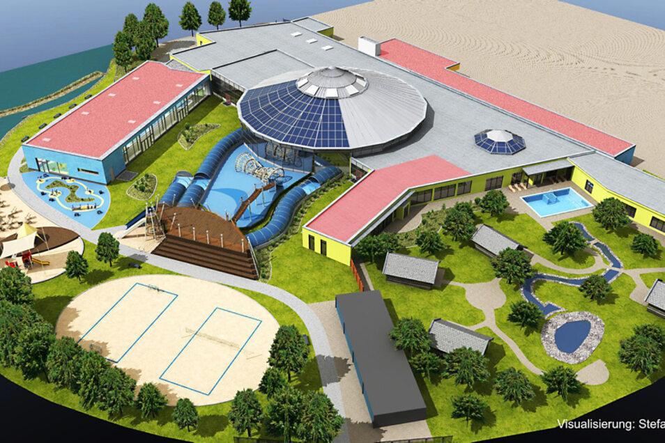 Das 1999 eingeweihte Lausitzbad soll größer und moderner werden. Platz ist genügend da auf dem Gelände.