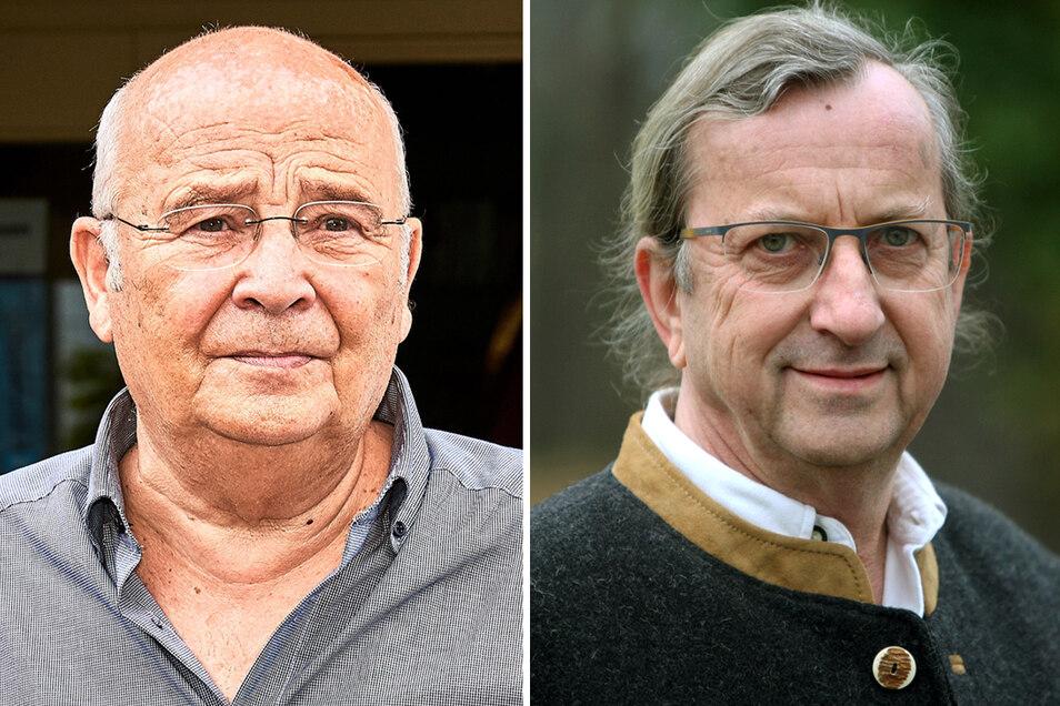 Soll die Amtsgeschäfte geordnet übergeben: Gohrischs ehemaliger Bürgermeister Heiko Eggert (li.) und sein Nachfolger Christian Naumann.