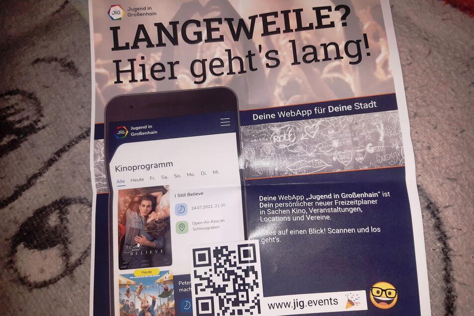 """Mit diesem Plakat werben die """"Macher"""" für die Großenhainer Jugend-App."""