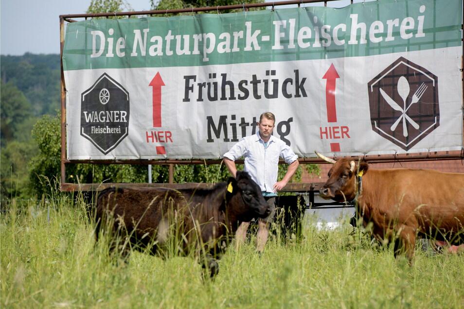 Fleischermeister Andreas Wagner auf der Weide seiner Mutterkuh-Herde gleich neben der Naturpark-Fleischerei in Mittelherwigsdorf.