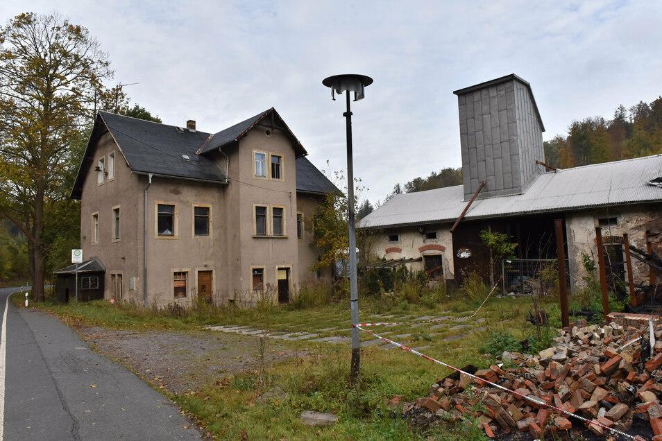 Die Ruinen der teilweise abgebrannten ehemaligen Hammermühle an der Müglitztalstraße sollen im Rahmen des Projekts auch verschwinden.