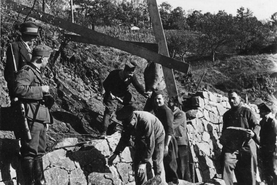 Französische Zwangsarbeiter werden von deutschen Wehrmachtssoldaten beim Terrassenbau in den Weinbergen bewacht.