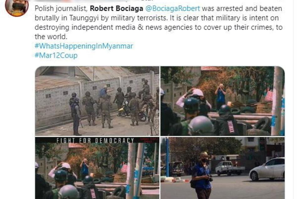 Die Bilder zeigen Robert Bociaga, einen polnischen Journalisten, der für die Deutsche Presse-Agentur in Myanmar tätig ist. Bociaga ist von Sicherheitskräften im Zentrum des Landes festgenommen worden.