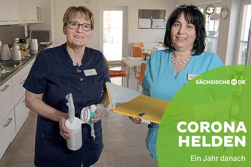 Petra Kolko (links) und Silvia Lange sind froh, dass Besuche in der Kurzzeitpflege an der Rüderstraße in Roßwein wieder möglich sind - wenn auch unter bestimmten Auflagen.