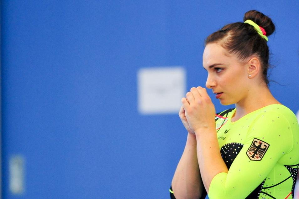 Die Anspannung vor dem Wettkampf: Für Sophie Scheder geht es jetzt um ihre zweite Olympia-Teilnahme.