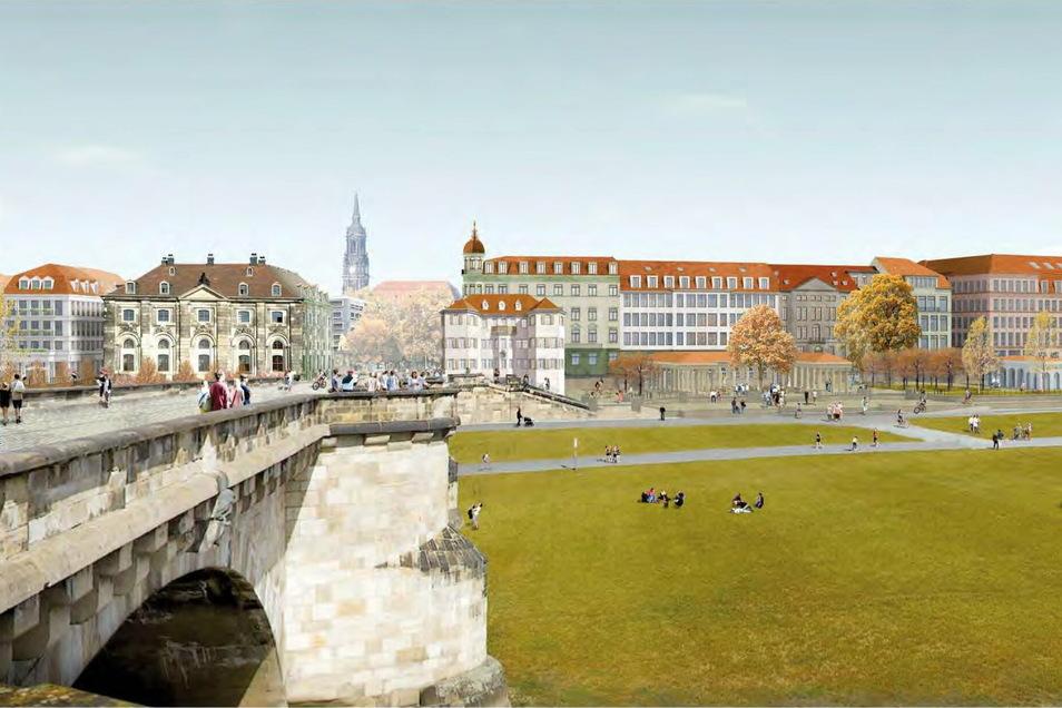 Das ist der Siegerentwurf von Bernd Albers Architekten GmbH, Berlin mit Prof. Günther Vogt, Landschaftsarchitekt in Berlin/Zürich. Er ist aber eine Freiraumplanung, die Fassaden werden erst in den nächsten Planungsschritten konkret gestaltet.