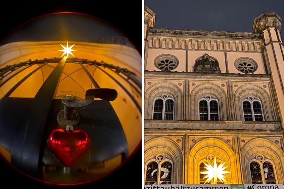 Den Blick fürs Detail hat Bozena Gregorius-Reiche bei ihrem Stadtrundgang: Ein Herz am Tor und Herrnhuter Stern am Balkon des Zittauer Rathauses fotografierte sie.