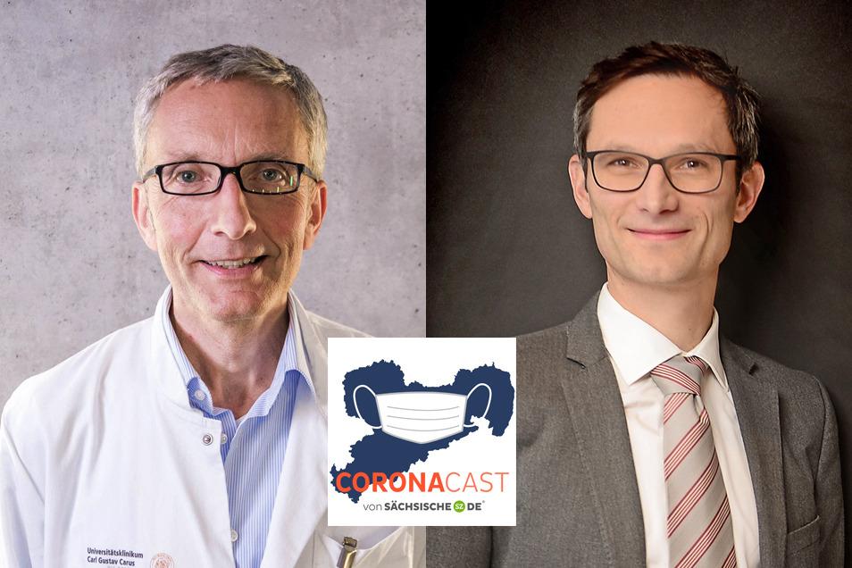 Professor Reinhard Berner, Leiter der sächsischen Schulstudie, und Dr. Hagen Schölzel, Kommunikationswissenschaftler, diskutieren im CoronaCast.