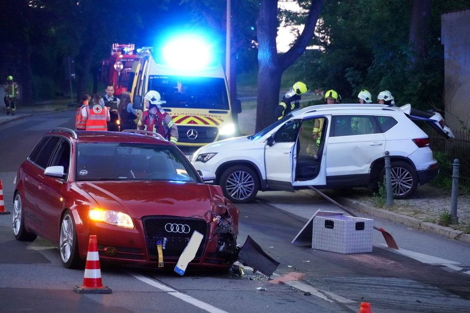 Am Donnerstagabend krachten in Kirschau ein Audi und ein Seat zusammen.