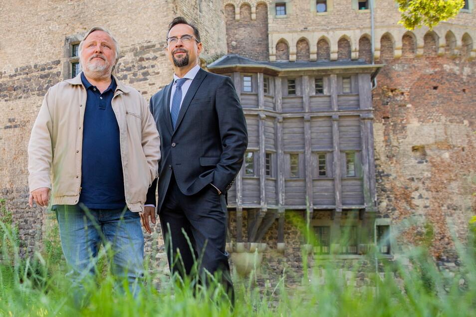 """Jan Josef Liefers (r) und Axel Prahl, Schauspieler bei Dreharbeiten zum neuen """"Tatort"""" aus Münster."""