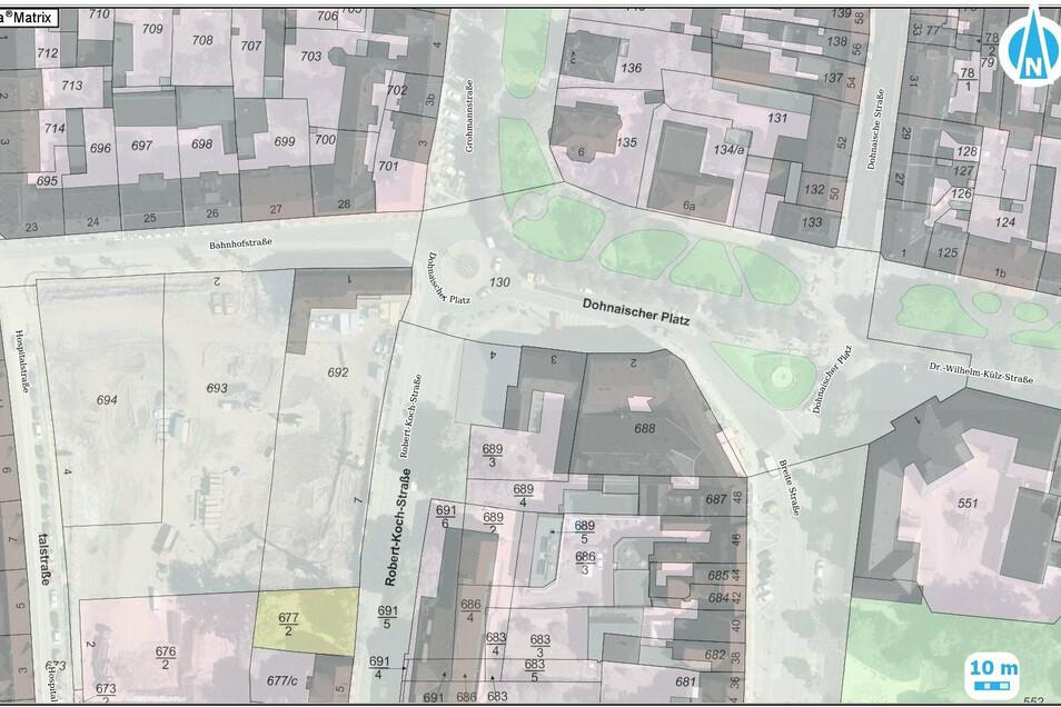 Diese Karte der Stadt Pirna gibt Auskunft, wie weit die jeweiligen Straßenbereiche rund um das Scheunenhofcenter gehen.