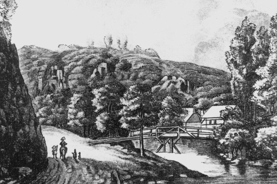 1812 die Pulvermühle am Fuße der Heidenschanze. Die hölzerne Brücke über die Weißeritz wurde später durch eine Steinbrücke ersetzt.