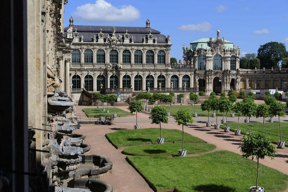Der Dresdner Zwinger, sonst vor allem im Sommer beliebtes Ziel von Touristen, ist in diesem Jahr häufig leer.