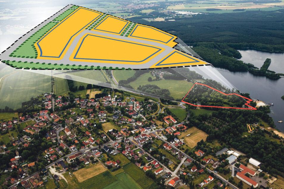 Auf diesem Bild ist zu erkennen, wo das künftige Vereinszentrum entsteht. Die Aufnahme ist zu einem Zeitpunkt entstanden, als das Areal auf der Groß Särchener Knappensee-Seite noch als Campingplatz Z 1 genutzt wurde.