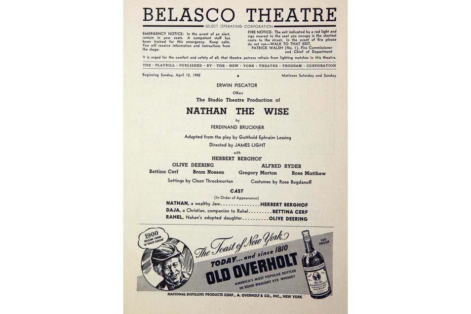 """Ankündigung für den """"Nathan"""" am Brodway. Die Hauptrolle spielte Herbert Berghof, der 1939 vor den Nationalsozialisten in die USA emigrierte."""