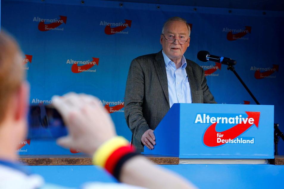 Die AfD hatte zur Kundgebung nach Kamenz eingeladen. Zu den Rednern gehörte Bundespolitiker Alexander Gauland.