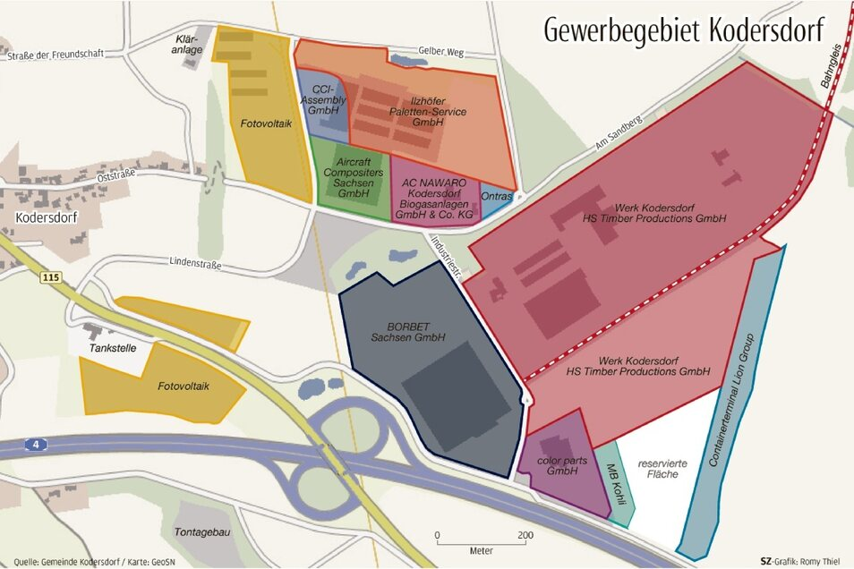 Das Gewerbegebiet in Kodersdorf - grafisch dargestellt