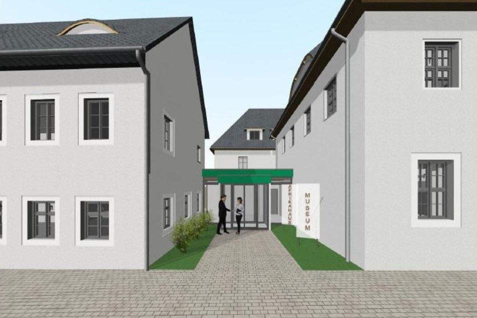 Visualisierung: So könnte der neue Eingangsbereich aussehen. Er wird in die Mitte zwischen Afrikahaus (links) und Heimatmuseum (rechts) verlegt.