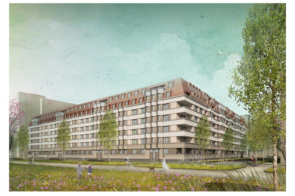 Wohnblock statt Hochhaus: So soll der Neubau am Käthe-Kollwitz-Ufer aussehen. Hier werden aber später nicht nur Sozialwohnungen vermietet.