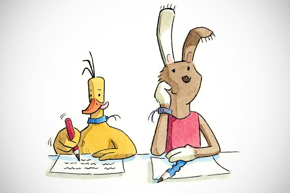 Die Ente schreibt fleißig am Deutschaufsatz, nur Hasenmädchen Lotte träumt.