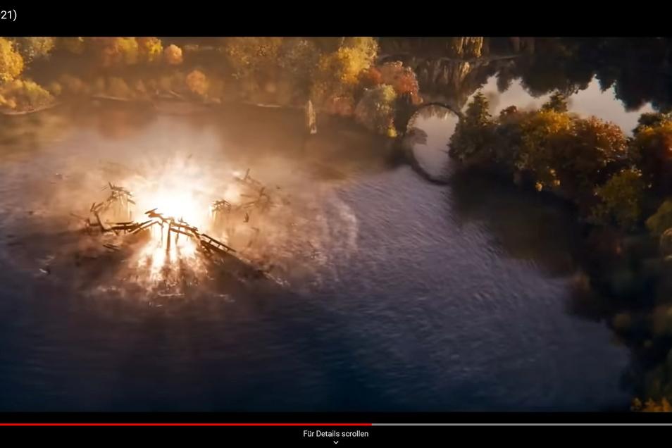 Die Trailer-Szene, in der die Rakotzbrücke am Rande einer Actionsszene eingebaut wurde.