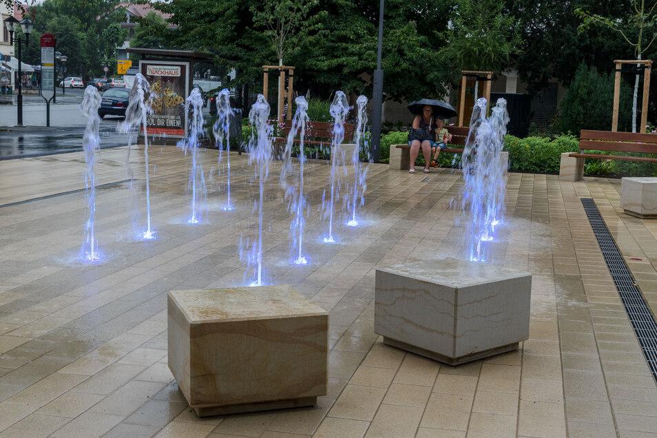 Wasserfontänenfeld im Pirnaer Friedenspark: Es hat sich vorerst ausgesprudelt.