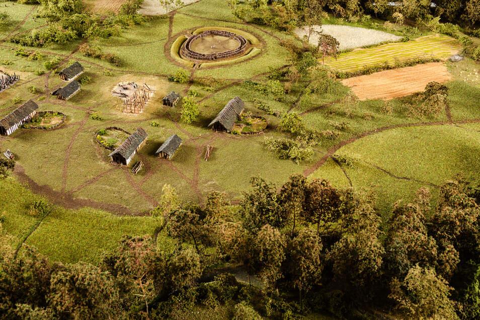 Das ist ein Ausschnitt aus dem Modell der Siedlung in Nickern, die ab 5.500 v. Chr. entstanden war. Es steht im Staatlichen Museum für Archäologie Chemnitz. Im Hintergrund ist die Rekonstruktion einer einfachen Kreisgrabenanlage zu sehen.