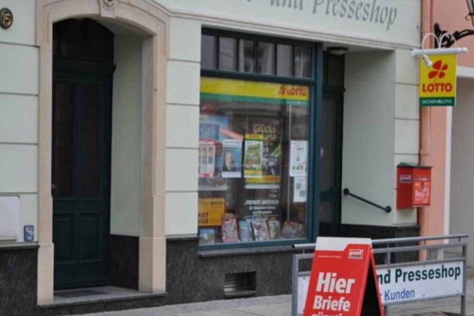 Der Lotto- und Presseshop Riedel in der Naundorfer Straße.