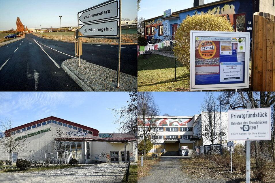 Die Stadt Bischofswerda will unter anderem in das Gewerbegebiet Nord 2 (o.l.), den Offenen Treff B 28 (o.r.), die Wesenitzsporthalle (u.l.)und das Kulturhaus investieren.