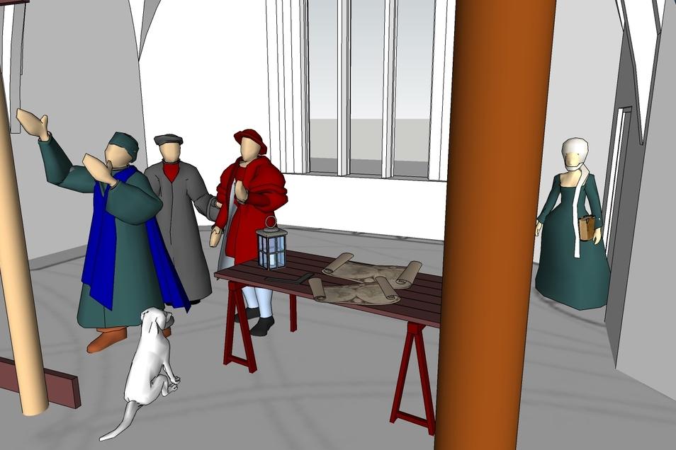 Der Prozess des Aufbaus der dreidimensionalen Bilder umfasst mehrere Stufen. In denen Figuren und Zubehör immer detaillierter gestaltet werden.