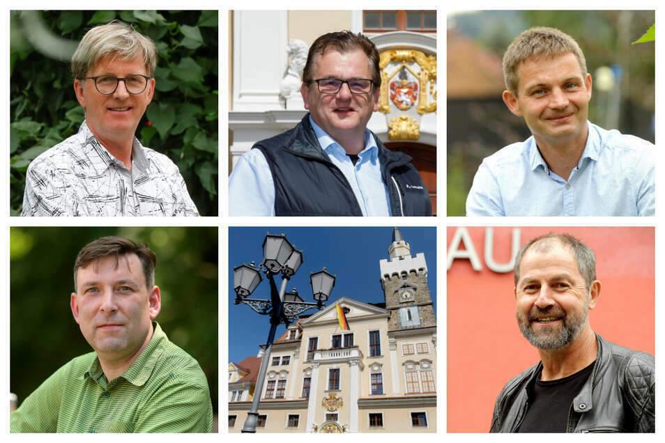 Die fünf bisherigen Löbauer OB-Kandidaten Heiko Neumann, Hajo Exner, Ringo Hensel, Dirk Rocho und Albrecht Gubsch (v.l.o.n.r.u.). Einer hat seine Kandidatur zurückgezogen.