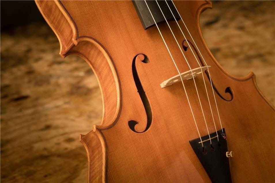 In der Linienführung nehmen die Öffnungen im Instrument, das auch Viola genannt wird, das Wappen wieder auf.