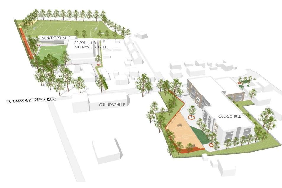 Der künftige Rothenburger Schul-Campus im Überblick. Klar erkennbar ist die räumliche Trennung von Schule und dem Sport- und Freizeitbereich.