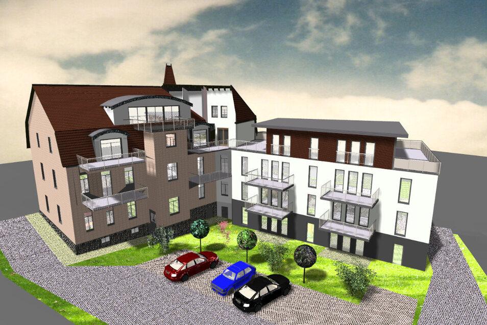 So sieht das Gebäude von hinten aus, wenn alles fertig gestellt sein wird: links der Altbau, rechts der Neubau. Auch für Grün und Parkplätze wird gesorgt.