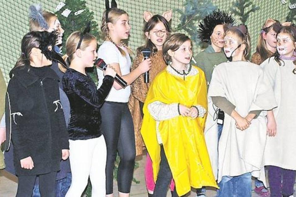 """Die Schüler der 3. und 4. Klasse erhalten in Horka viel Beifall, nachdem sie ihr Stück """"Bärchens Weihnacht"""" beim Weihnachtsnachmittag aufgeführt haben."""