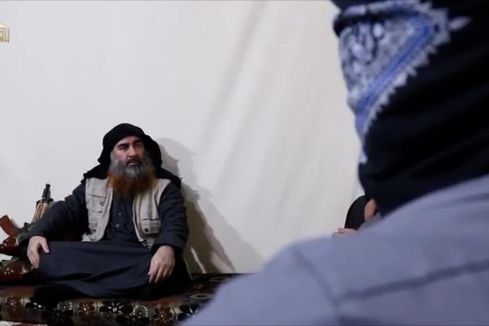 Der Screenshot des Videos, das am 29. April 2019 über Al-Furkan, einen Medienkanal der IS, verbreitet wurde, zeigt den Anführer der IS-Terrormiliz Abu Bakr al-Bagdadi.