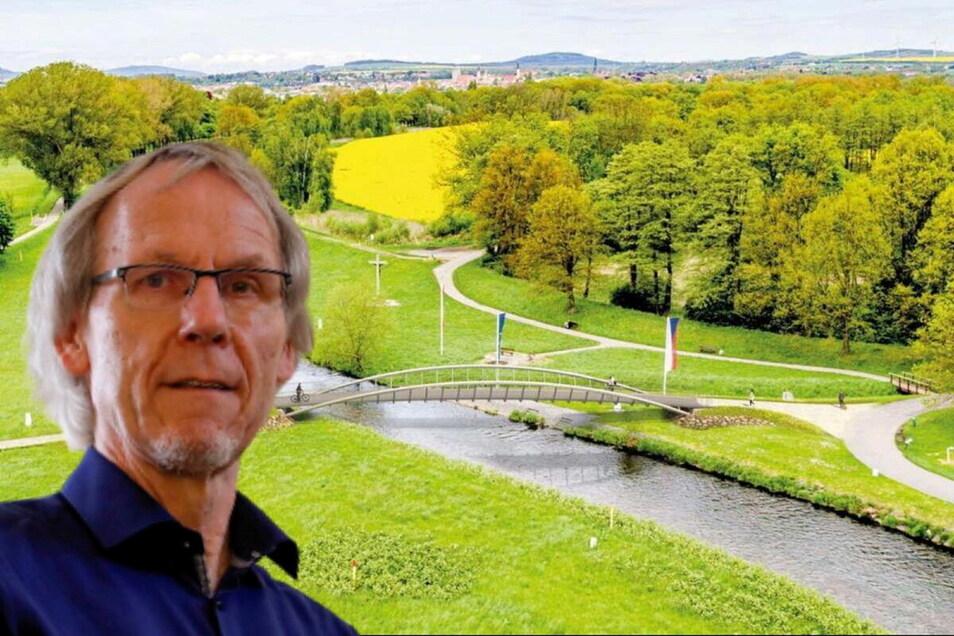 Horst Schiermeyer aus Zittau kämpft für eine dreiarmige Brücke am Dreiländereck. Vorgesehen ist derzeit nur eine normale zwischen der tschechischen und der deutschen Seite.